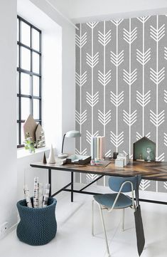 Wallpaper – Ideas for every room – that's our new inspirational theme! You can create an original and effective wall design in the house in different ways. Wall Design, Layout Design, House Design, Geometric Wallpaper, Vinyl Wallpaper, Adhesive Wallpaper, Wallpaper Stores, Temporary Wallpaper, White Wallpaper