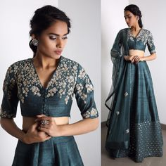 khazanakart Cotton Silk Grey Women lehenga Choli with Dupatta Pakistani Dresses, Indian Dresses, Indian Outfits, Pakistani Suits, Indian Clothes, Green Lehenga, Lehenga Choli, Anarkali, Ethnic Fashion