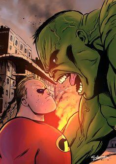#Hulk #Fan #Art. (Disney vs Marvel) By: Ek-cg. (Mr. Incredible versus Hulk!) ÅWESOMENESS!!!™ ÅÅÅ+