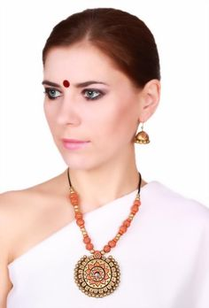INR 1399 Round shape pendant terracotta #necklace with #earrings #FASHION