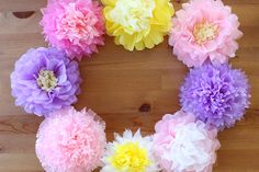 """Cute ♪ that you can make from familiar 【flower paper】"" Big Paper Flowers, Pom Pom Flowers, Paper Flowers Diy, Flower Crafts, Diy Paper, Paper Crafts, Crafts To Do, Easy Crafts, Crafts For Kids"