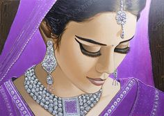 Moderne Schilderijen - Modern portrait painting Jewel Of India