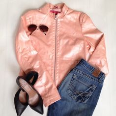 Blush Pink Faux Leather Moto Jacket, Sz M Bored with black?! Check out this super cute blush pink moto jacket! Sz M. See last photo for outfit ideas. Bernardo Jackets & Coats
