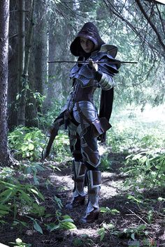Demon Hunter from Diablo 3 female costume cosplay LARP armor clothes clothing fashion player character npc | Create your own roleplaying game material w/ RPG Bard: www.rpgbard.com | Writing inspiration for Dungeons and Dragons DND D&D Pathfinder PFRPG Warhammer 40k Star Wars Shadowrun Call of Cthulhu Lord of the Rings LoTR + d20 fantasy science fiction scifi horror design | Not Trusty Sword art: click artwork for source