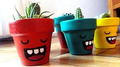These pots definitely bring more fun in planting Plant at home idea Flower Pot Art, Flower Pot Crafts, Clay Pot Crafts, Cactus Flower, Decorated Flower Pots, Painted Flower Pots, Painted Pots, Decor Crafts, Diy And Crafts