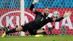United States' goalkeeper Tim Howard saves a shot by Belgium during the World Cup match between Belgium and the USA at the Arena Fonte Nova ...