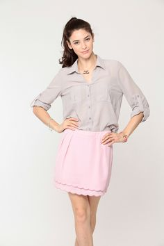 Intercontinental Apparel and Accessories: Lilac Scalloped Skirt.