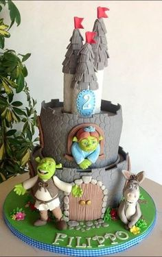 Sherk ,Fiona e ciuchino - by Sabrinup @ CakesDecor.com - cake decorating website