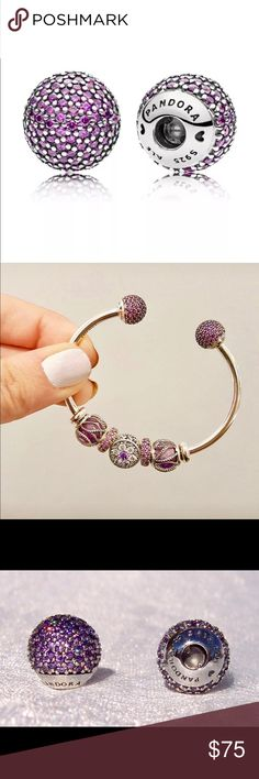 PANDORA Pavé Open Bangle PURPLE CZ Caps 796481PCZ PANDORA Pavé Open Bangle Caps, Fancy Purple CZ 796481CFP. The crowning glory on your open bangle, these end caps are embellished with pavé-set purple cubic zirconia stones. With interchangeable end caps you have the ability to customize your bracelet styling, simply push and twist the end caps. Pandora Jewelry Bracelets