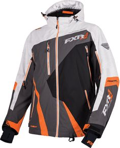FXR Mens Black Mission Lite Tri-Lam Non-Insulated Snowmobile Jacket Snocross Mens Snowmobile Jackets, Snowmobile Clothing, Winter Wear, Snowboard, Grey And White, Outdoor Gear, Motorcycle Jacket, Racing, Weave