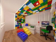 Projeto de ambientação de quarto Lego® infantil por Lazo Arquitetura.