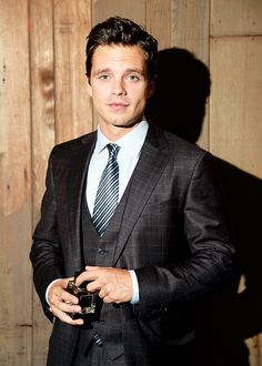 Sebastian Stan experiences Ermenegildo Zegna Essenze fragrance collection at King Lear cast party in Central Park on August 5, 2014 in New York City.