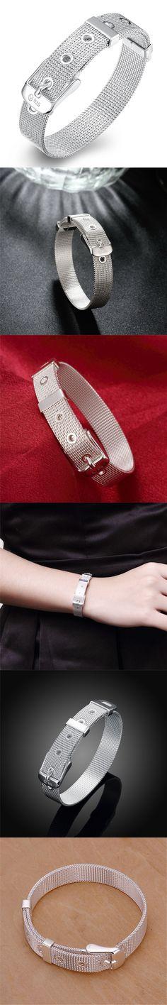 Silver Plated Jewelry Belt Buckle Bracelets For Women Vintage Web Watch Belt Charm Bracelet Femme Gifts Bijoux Pulseiras BK0695
