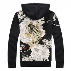 Men Flower Tattoo, Japanese Koi, Black Zip Ups, Carp Fishing, Fleece Hoodie, Chinese Style, Hoodies, Sweatshirts, Oriental
