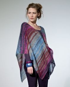 """Stripe Megan Poncho Kit - priced at $127.80. """"Knit this ladies loose fit poncho and the unique colour blends in Kidsilk Haze Stripe will shine through. Ideal as a evening wear layer piece."""""""