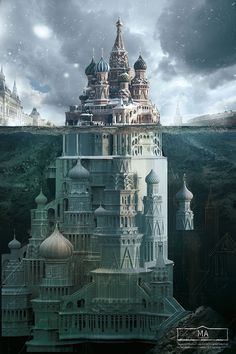 Ad campaign for Schusev State Museum of Architecture, cleverly depicting Russian monuments as only a small visible part of a whole, a la iceberg. Fantasy City, Fantasy Castle, Fantasy Places, Fantasy World, Russian Architecture, Futuristic Architecture, Architecture Design, Monument Russe, Ville Steampunk