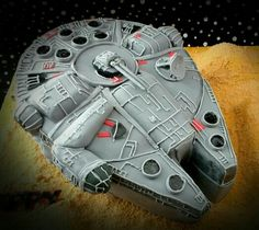 'May the force be with you'. A millenium falcon cake. Yep its a cake!