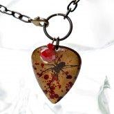 Creepy Spider - Vintaj Guitar Pick - Blood Spatter Necklace