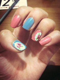 Blue; Pink; Flower; Nail Art