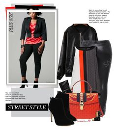 """""""Street Chic"""" by beebeely-look ❤ liked on Polyvore featuring Gucci, Guerlain, sammydress, plussize, blackandred, StreetChic and plussizefashion"""