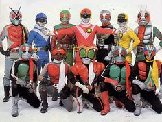 Every Showa Rider up until Super-1 posed up with the TAIYO SENTAI SUN VULCAN! Some rare shit indeed. Ranger X Rider.