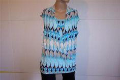 ROZ & ALI  Shirt Top Sz L Crossover Sleeveless Spandex Stretch #RozAli #KnitTop #Casual