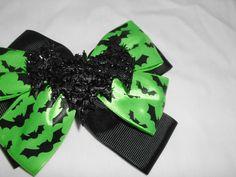 Bat Hair Bow Black & Green Halloween NEW Handmade! #Handmade