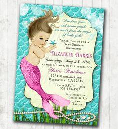 Mermaid Baby Shower Invitation Little Mermaid Ocean Baby Shower Under The Sea Aqua Pink and Lime Custom Printable by jjMcBean on Etsy
