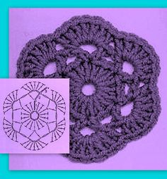 Watch The Video Splendid Crochet a Puff Flower Ideas. Phenomenal Crochet a Puff Flower Ideas. Crochet Earrings Pattern, Crochet Coaster Pattern, Crochet Motifs, Granny Square Crochet Pattern, Crochet Flower Patterns, Crochet Mandala, Crochet Diagram, Crochet Chart, Crochet Squares