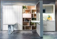 "The Italian company Clei makes some amazing space-saving products like this hide-away kitchen ""Kitchen Box,"" that the company just presented at The Salone d Furniture, Living Room Furniture, Small Spaces, Home, Make Your Bed, Moving Walls, Tiny Apartments, Space Saving Furniture, Furniture Design"