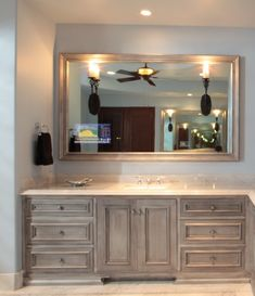 The Well Hidden TV: Clever Disguises for That Big Black Box! - Driven by Decor Two Way Mirror, Mirror Tv, Black Mirror, Tv Mounting Brackets, Tv Bracket, Wall Mounted Tv, Big Screen Tv, Flat Screen, Bath