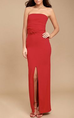 Own The Night Red Strapless Maxi Dress - Best Maxi Dress Best Maxi Dresses, Fabulous Dresses, Formal Dresses, Red Maxi, Strapless Maxi, Night, Clothing, Beautiful, Shoes