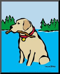 Retriever in Lake Prints by Marc Tetro at AllPosters.com