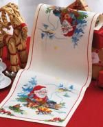 Santa By The Fire Table Runner Cross Stitch Kit - Idéna Collection by Anchor