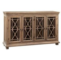 "Hekman Lattice Front Entertainment Console With Four Glass Doors 27299 - Hekman Lattice Front Entertainment Console With Four Glass Doors 27299SKU: 27299Manufacturer: HekmanCollection: EntertainmentFinish: Special ReserveWeight: 192Cubes: 45.4Overall Dimensions:Width 72.75"" (184 cm)Depth 18"" (46 cm)Height 43"" (109 cm)Features: Casual entertainment console features select solids and veneersFour glass doors with a shelf behind each door"