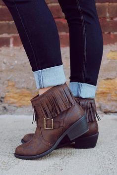 Fringe Buckle Inside Zipper Bootie | UOIOnline.com: Women's Clothing Boutique