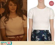 Layla's white short sleeve beaded sweater on Nashville. Outfit Details: http://wornontv.net/21211 #Nashville #ABC