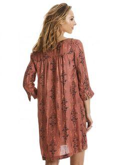 Kjole terracotta print 217M-282 Dusty Desert Dress - sandal wood