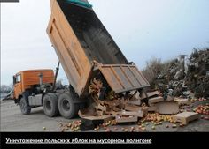 The state sabotages the citizens' rights for better quality of  life: 31 March 2016, the Russian govt has given order to destroy European produce/food by brainless workers. 5 tonnes of Apples from Poland in this case. Decent people are trying to stop this disgrace. | VK
