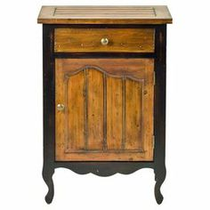"One-drawer fir wood cabinet with a scalloped apron.    Product: Accent cabinetConstruction Material: Fir woodColor: Natural and blackFeatures:  One doorOne drawer Dimensions: 30"" H x 20"" W x 13"" D"