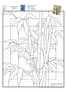 Stained Glass Spectrum Pattern - bamboo on geometric ground Stained Glass Quilt, Stained Glass Flowers, Faux Stained Glass, Stained Glass Designs, Stained Glass Panels, Stained Glass Projects, Stained Glass Patterns, Mosaic Patterns, Mosaic Art