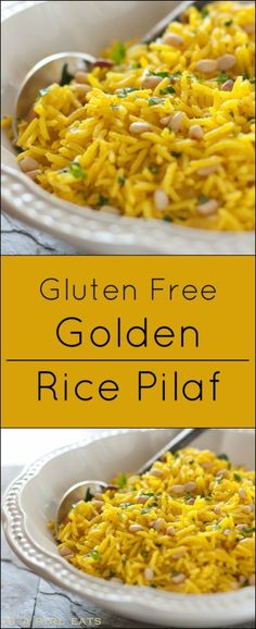 Golden rice pilaf is an easy gluten free side dish!