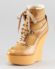 Rabbit-Lined Wedge Sneaker by Burberry at Neiman Marcus.
