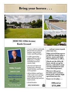 Just Listed! Real Estate for Sale: $735,000-4 Bd/2.1 Ba Updated Two Story Home + Bonus Room on Horse-Friendly 5 Acres with 48X60' Barn & Cross-Fenced at: 20302 NE 159th Ave, Battle Ground, Clark County, WA! Area 61. Listing Broker: Mike Lamb (360) 921-1397, Windermere Stellar, Vancouver, WA! #realestate #justlisted #BattleGround #fourbedroom #bonusroom #horseacreage #barn #crossfenced #tackroom #threestalls #horseproperty