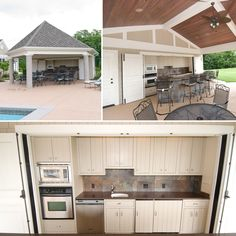 Pool house with kitchenette and changing room.