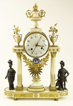 -Third quarter 18th century French Gavelle L'Aine Louis XVI ormolu mounted white marble striking portico clock with white enamel dial and eight-day twin barrel movement with silk suspension and count wheel strike on bell, repeat signature on the back plate; Apollo mask pendulum; winding key.