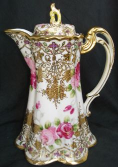 Nippon Chocolate Pot Heavy Gold Hand painted Roses