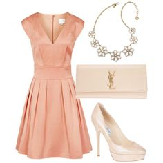 A Perfect Conservative Fit And Flare In Subtle But Cheerful Pink Peach Color