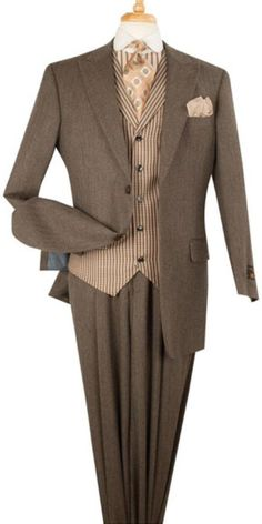 SKU#MK692 Mens Apollo King Pinstripe 3 Piece Lapelled Vest Wool Brown Fashion Suit $175