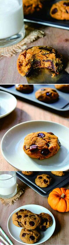 VEGAN CHOCOLATE CHIP PUMPKIN COOKIES - chip, chocolate, cookie, dessert, gluten free, pumpkin, recipes, vanilla, vegan